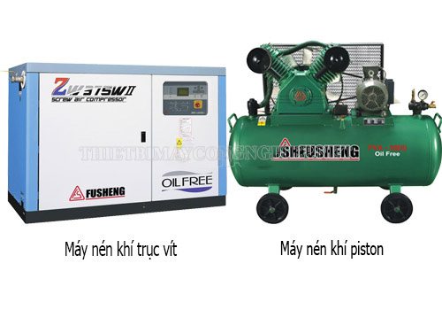 2 loại máy nén khí phổ biến là máy nén khí piston và trục vít