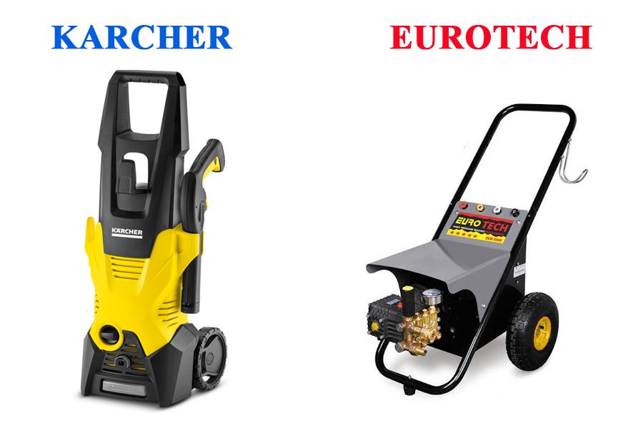 So sánh máy rửa xe Eurotech với Karcher trong cùng mức giá
