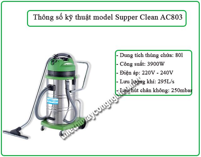 model máy hút bụi công suất lớn Supper Clean AC803