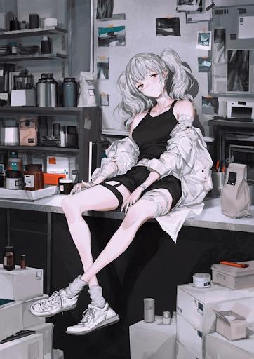 anime nữ ngầu trắng đen