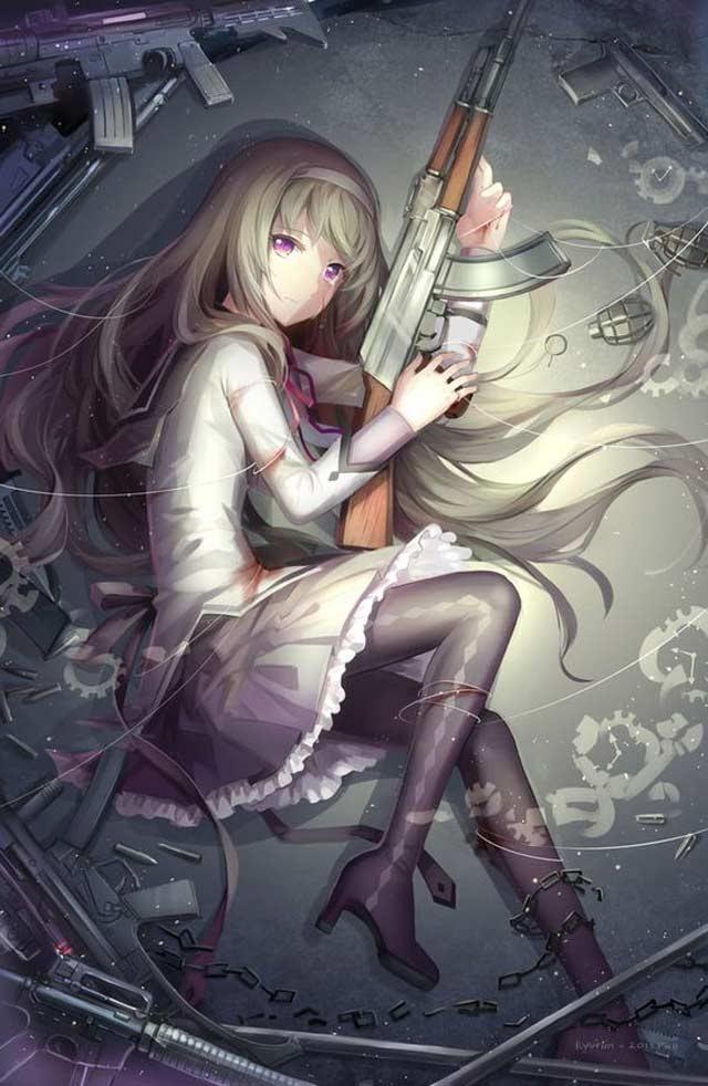hình ảnh anime nữ ngầu cầm súng