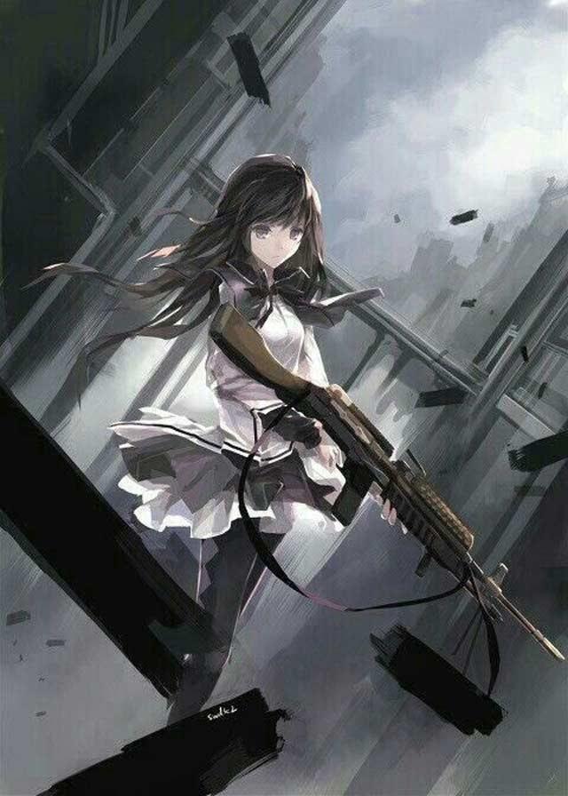 tranh anime nữ ngầu cầm súng